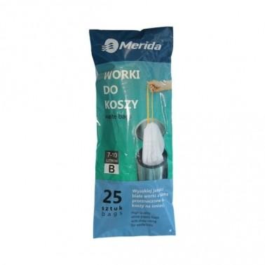 Merida prügikotid nööridega 7-10L, valge vaniljelõhnaline, 25tk/rll - Pesumati