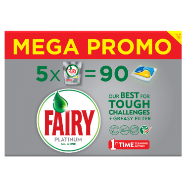 Fairy All-in-1 Platinum MegaBox nõudepesutabletid 5x268g, 90tk/pk - Pesumati