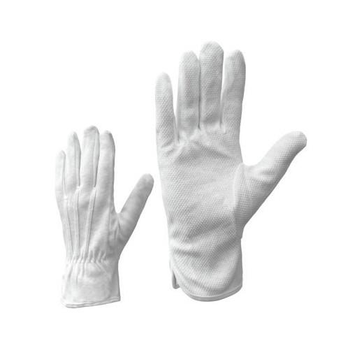 Puuvillased kindad mikrokummipunktidega, valged, M-XXL - Pesumati
