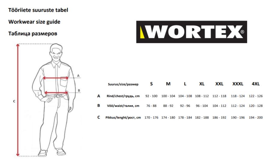Wortex tööriiete suurustetabel